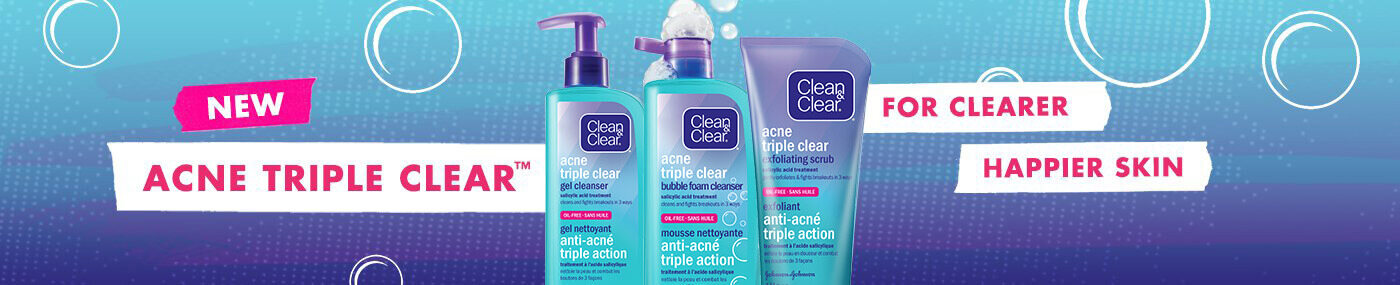 three clean and clear acne products banner