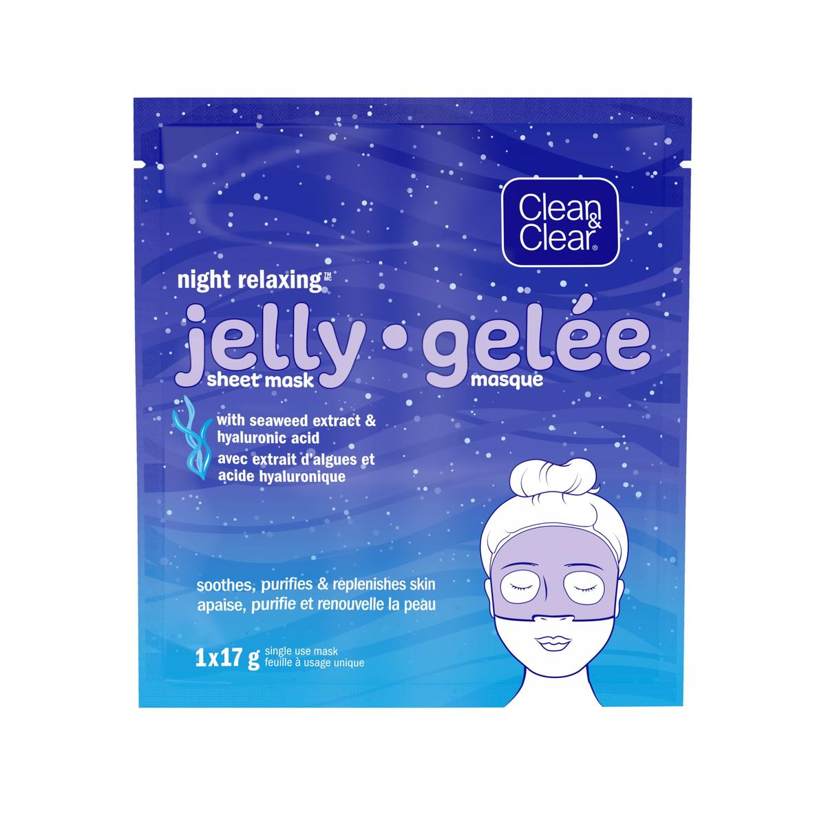 emballage du masque en gelée Clean and Clear night relaxing en feuilles