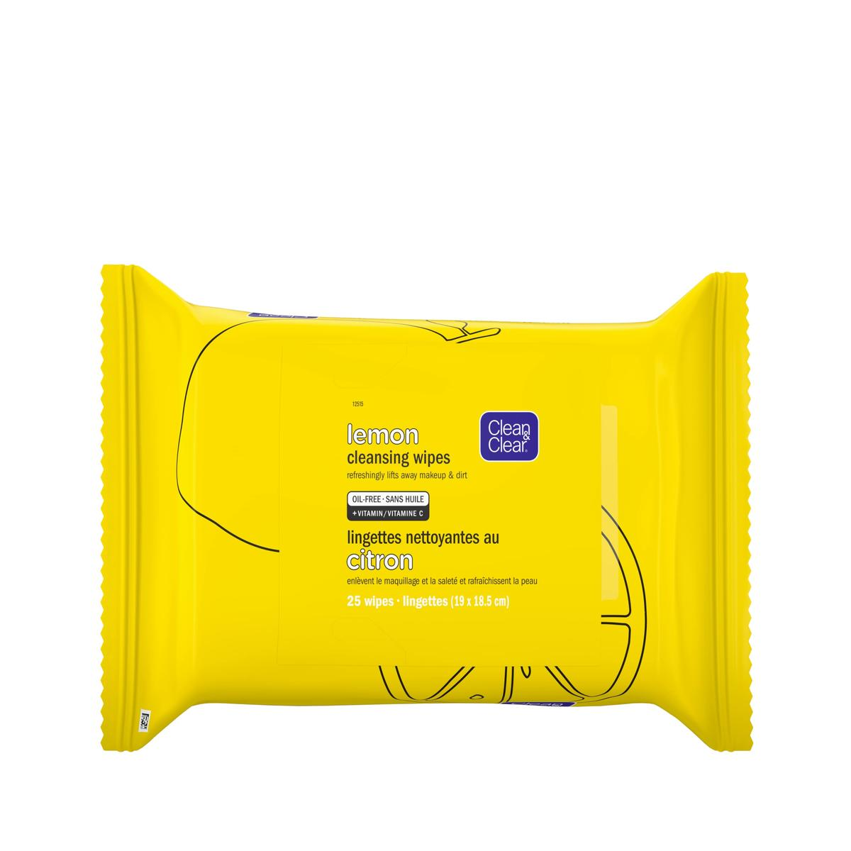 Clean and Clear lemon cleansing wipes yellow pack