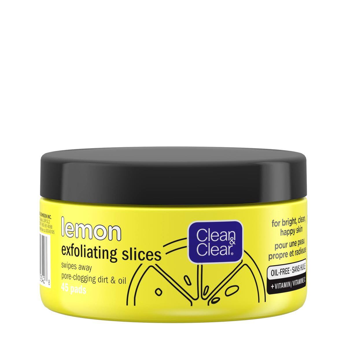 Clean and Clear lemon exfoliating slices in yellow tub