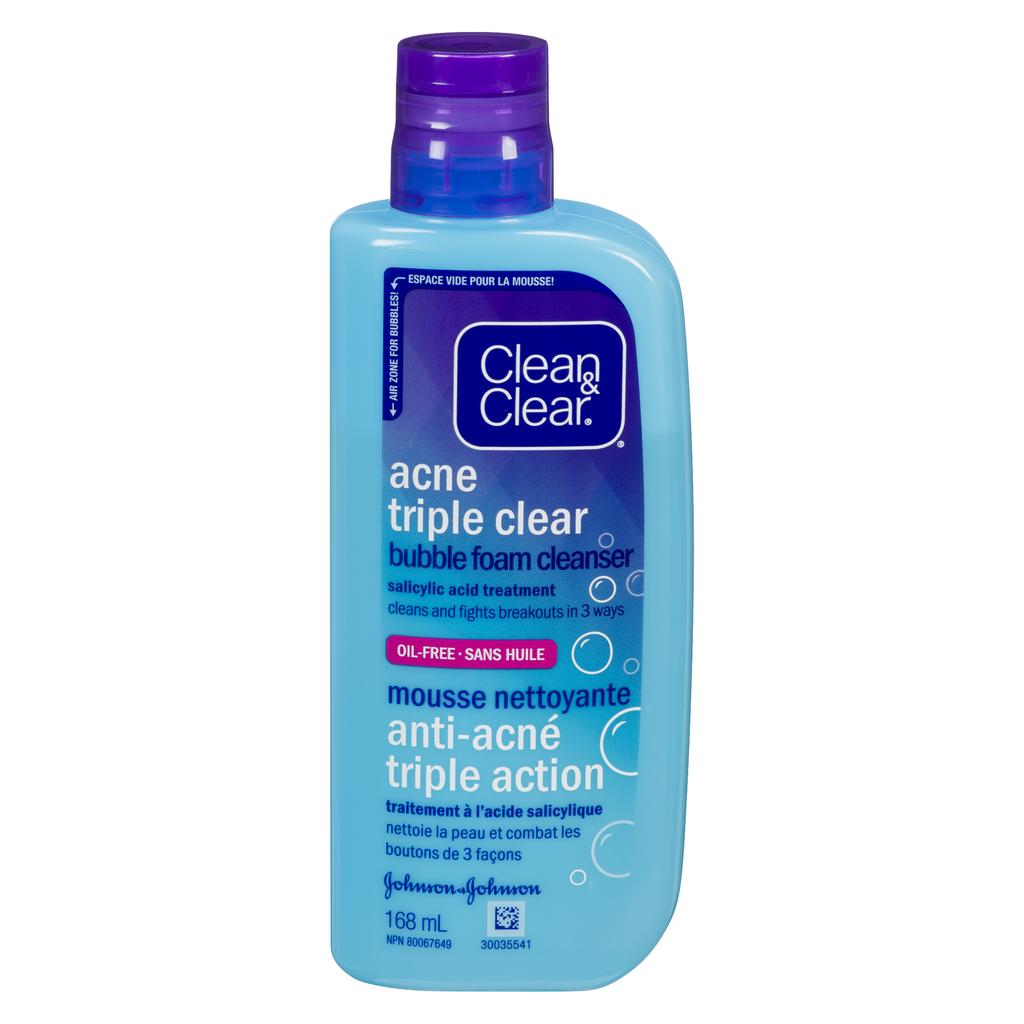 bottle of acne triple clear bubble foam cleanser by clean and clear